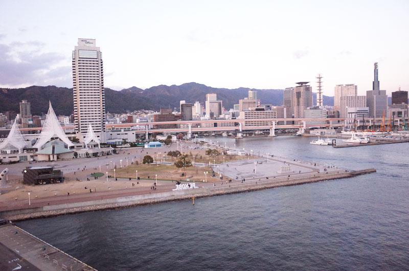 神戸メリケンパークオリエンタルホテル 9階バルコニーからの景色